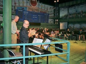 In rehearsal for the musical National Pastime at the Baseball Hall of Fame in Cooperstown.