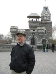 At Belvedere Castle in Central Park. Yes, I often go out without checking whether my collar's turned up.